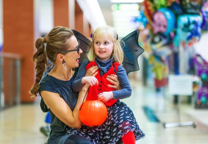 Child at the mall for alternative -trick-or-treating