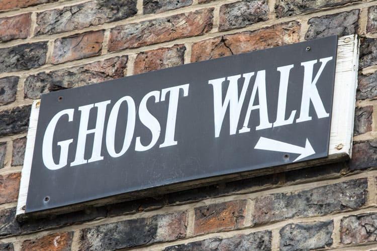 ghost tour walking sign
