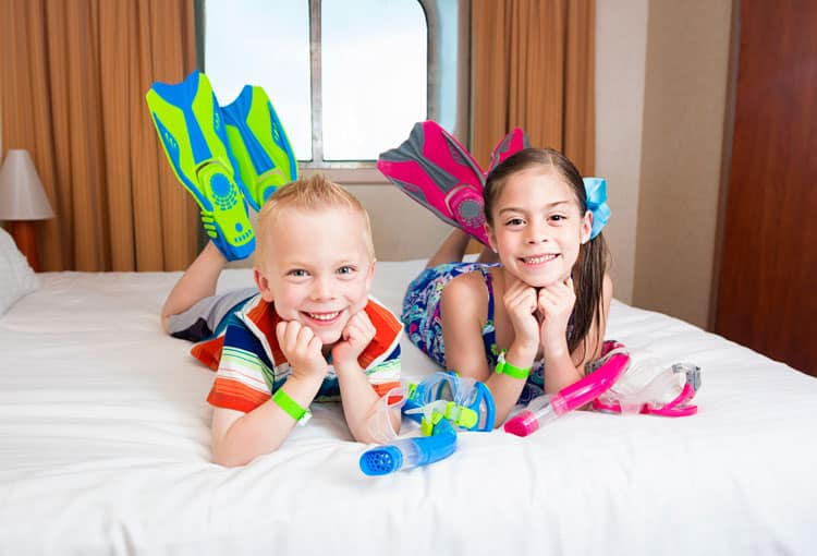 kids on a cruise ship waiting to swim and snorkel