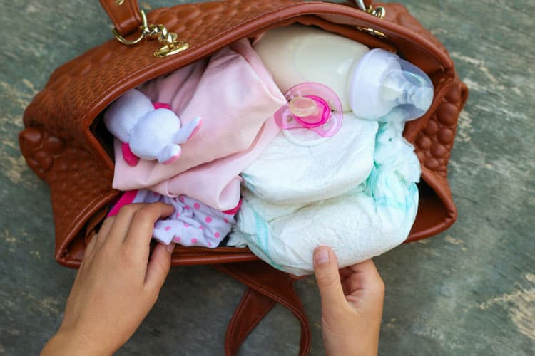 packing a diaper bag for flying with baby