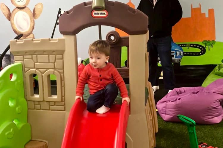 child playing at buddy's indoor playhouse in atlanta