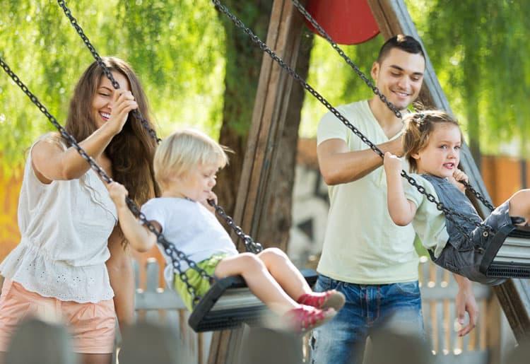 family playing at lake tahoe park