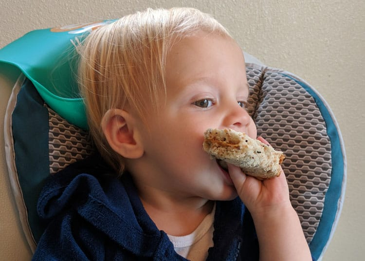 baby eating a peanut butter sandwich for healthy travel snack