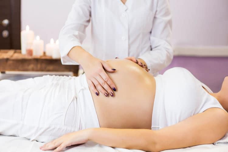 pregnant mom getting a massage
