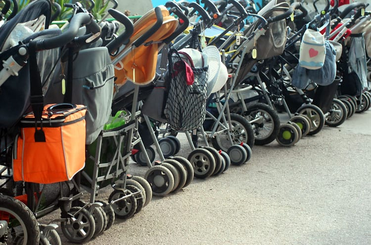 strollers parked at disney world