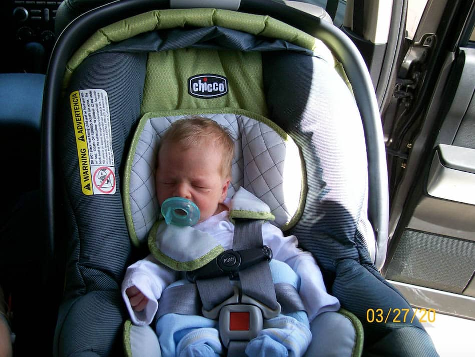 baby in car seat - total parenting failure for buckling