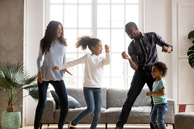 family dancing for physical activity