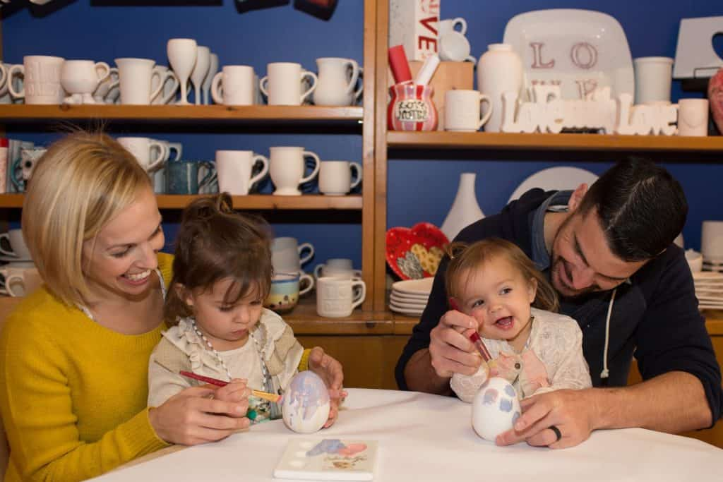 family painting pottery