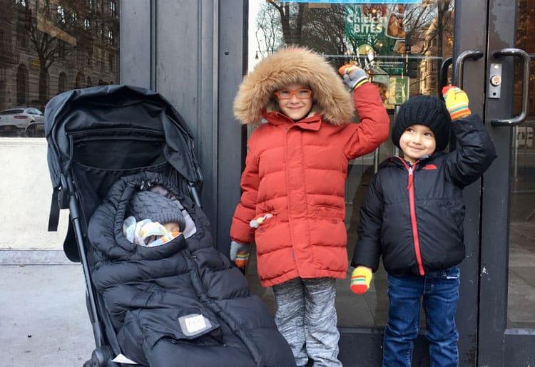 kids outside of the shake shack