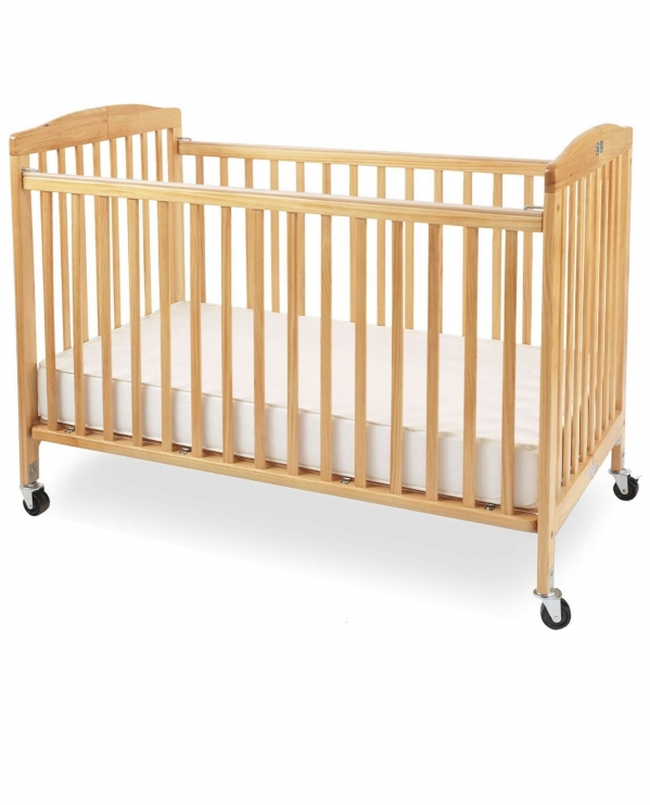 LA Baby Foldable Full-size Crib with Linens