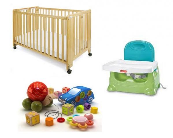BabyQuip - Baby Equipment Rentals - Crib, feed chair, Toys Package - Crib, feed chair, Toys Package -
