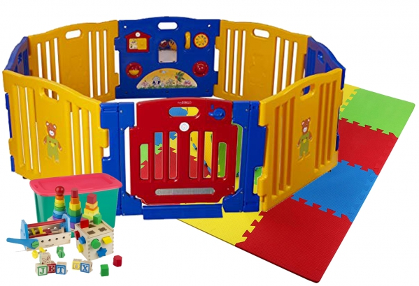 BabyQuip - Baby Equipment Rentals - Play Zone w/ Floor Mat & Toys - Play Zone w/ Floor Mat & Toys -