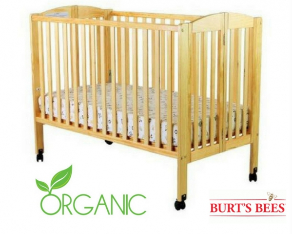 Full-Size Wood Crib with Organic Pad & Linens
