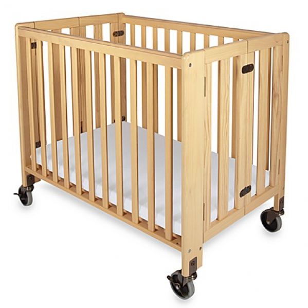 BabyQuip - Baby Equipment Rentals - Foundations Compact Wooden Crib With Linens - Foundations Compact Wooden Crib With Linens -