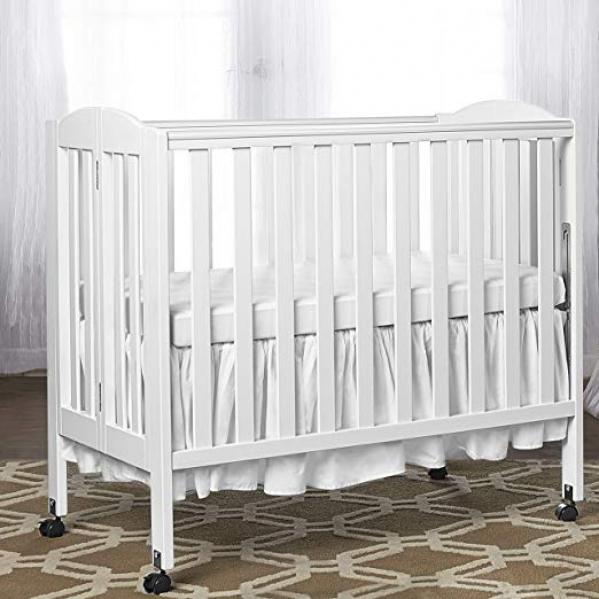 Mini Folding Stationary Side Crib with sheets